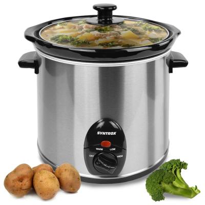 Syntrox 3,0 Liter Edelstahl Slow Cooker mit Warmhaltefunktion