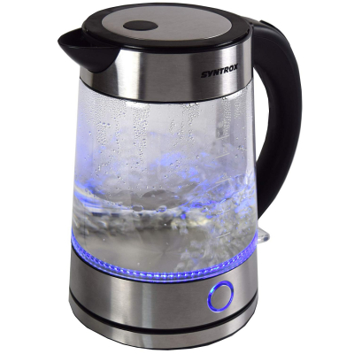Syntrox 1,7 Liter Edelstahl schnurlos Glas Wasserkocher Rio mit blauem LED Licht 360°