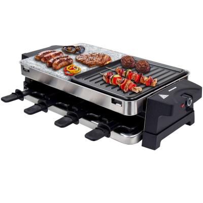 Syntrox Edelstahl Raclette für 8 Personen mit Heißem Stein und Grillplatte