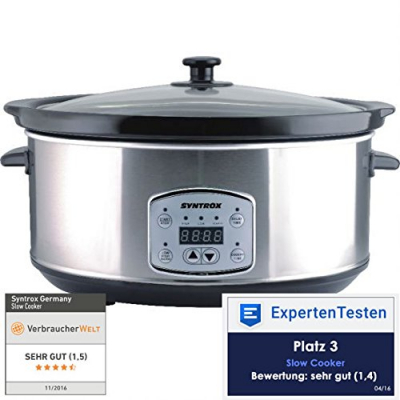Syntrox Digitaler Slow Cooker 6,5 Liter mit Timer