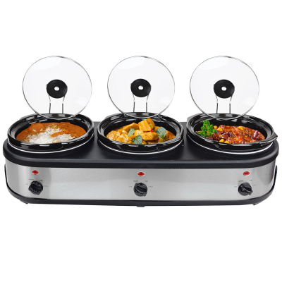 Syntrox Edelstahl Slow Cooker 3 x 2,5 Liter