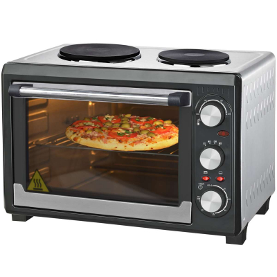 Syntrox Germany 26 Liter Mini Backofen mit Umluft und Drehspieß Miniküche mit 2 Kochplatten Minibackofen Pizzaofen