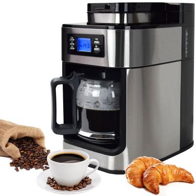 Syntrox Edelstahl Kaffeemaschine Kaffeeautomat mit Mahlwerk und Timer