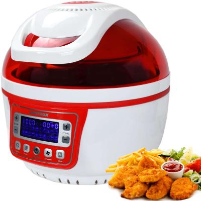 Syntrox Turbo-Heißluftfritteuse Heißluftgarer Airfryer Küchenmaschine mit LED-Display 10 Liter Garraum, max. 250° rot