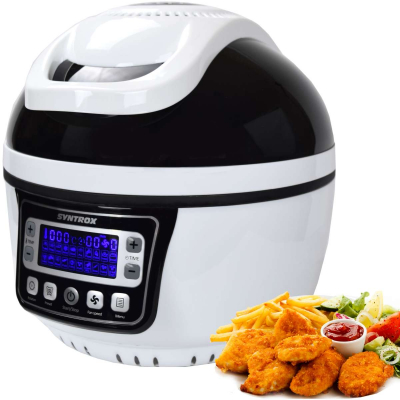 Syntrox Turbo-Heißluftfritteuse Heißluftgarer Airfryer Küchenmaschine mit LED-Display 10 Liter Garraum, max. 250° schwarz