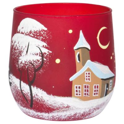 Teelichthalter Winterlandschaft rot