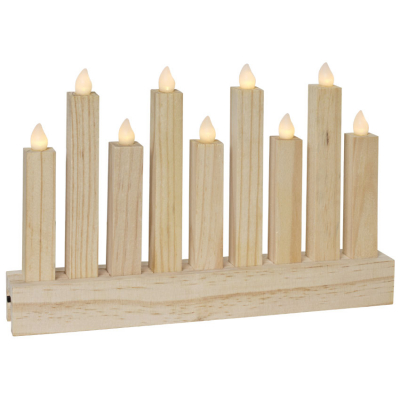 Weihnachtsleuchter, 9 ww LEDs, Holz natur