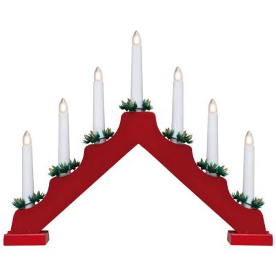 Weihnachtsleuchter, 7 warmweiße LEDs, rot, batteriebetrieben