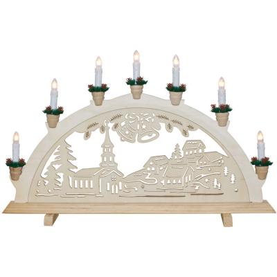 Weihnachtsleuchter Winterdorf mit Glocken, 7 x E10/34V/3W,