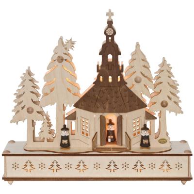 Weihnachtsleuchter Seiffener Kirche im Wald mit Chor, 7 x E10/34V/5W