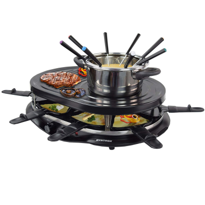Syntrox 4 in 1 Raclette Grill Heißer Stein und Fondue