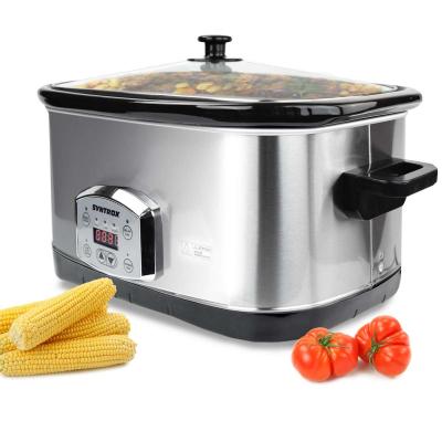 Syntrox 7,5 Liter Edelstahl Slow Cooker mit Warmhaltefunktion