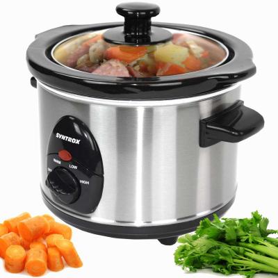 Syntrox 1,5 Liter Edelstahl Slow Cooker mit Warmhaltefunktion