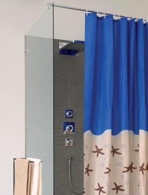 Duschvorhang SANWOOD KARIBIK, 200 x 180 cm, blau/jasmin