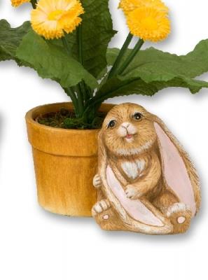Blumentopf mit Langohr-Hase Osterhase, aus Keramik