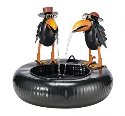 Metall-Brunnen Gartenbrunnen 2 bunte Raben mit Wasserspiel + Elektropumpe