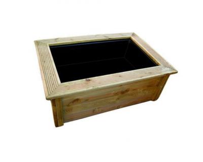Ubbink Set: Quadro Wood II - kesseldruckimprägnierte Holzumrandung + Victoria Quadro 6 - Teich Kübel