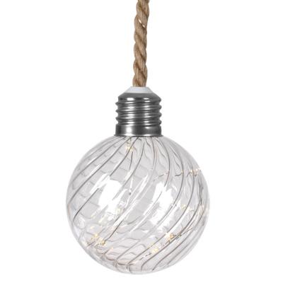 Glaskugel, 15 warmweiße LEDs, Tau