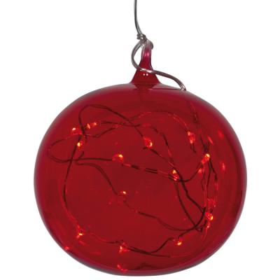 KRINNER Glaskugel LUMIX LIGHT BALL M, 15 warmweiße LEDs, rot
