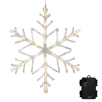 LED-Schneeflocke, 24 warmweiße LEDs, batteriebetrieben, außen