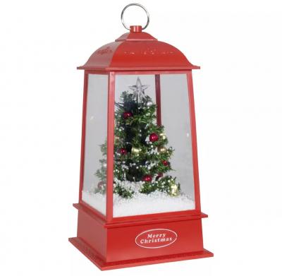 Christmas Paradise Schneiende LED Laterne Motiv Baum, rot, INNEN
