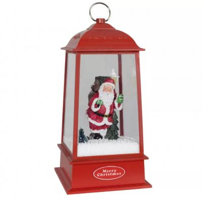 Christmas Paradise Schneiende LED Laterne Motiv Santa, rot, INNEN