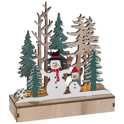 Weihnachtsleuchter Schneemänner im Wald, 3 warmweiße LEDs,
