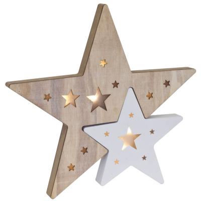 Weihnachtsleuchter Sterne, warmweiße LEDs, batteriebetrieben