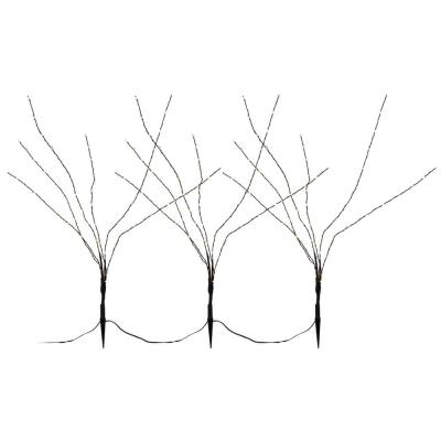 LED-Bäumchen, Gartenspieße, 3er-Set, 3 x 60 ww LEDs