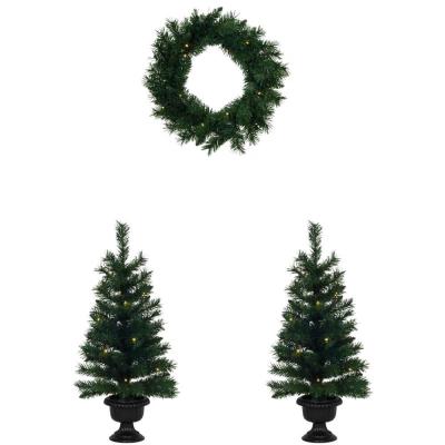 Weihnachtsbäume und -kranz, 3er-Set, je 20 warmweiße LEDs