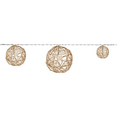 LED-Girlande Drahtbälle gold, mit Timer, Batteriebetrieb