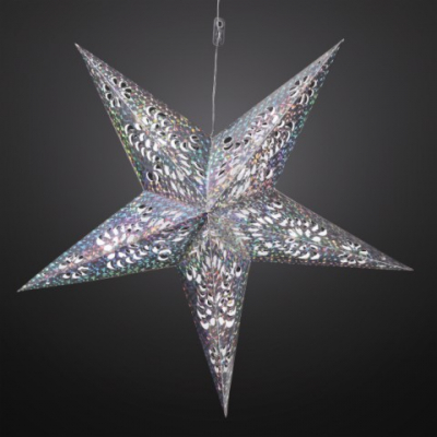 Hellum LED-Weihnachtsstern 60 cm warmweiß/silber batteriebetrieben