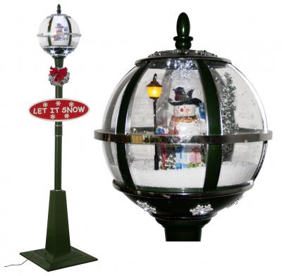 Schneiende LED Stand-Laterne 175 cm, grün, mit Schneemann