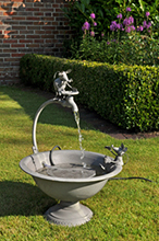 Metall-Brunnen Gartenbrunnen 2 MÄUSE mit Wasserspiel + Elektropumpe