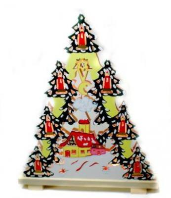 3D Doppelter Pyramiden Schwibbogen, Pyramide 37x46 cm