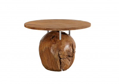 Kugeltisch aus Teakwurzelholz - !!!inkl. 4 Stühle im Kolonialstil!!!