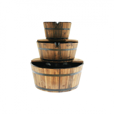 Ubbink Edinburgh - Wasserspiel rustikales Set aus Holz 3 Fässer