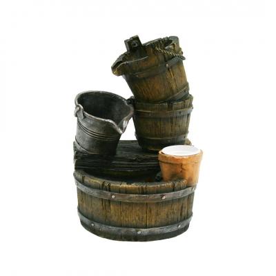 Ubbink Halifax - Wasserspiel rustikaler Dekobrunnen Fässer und Eimer