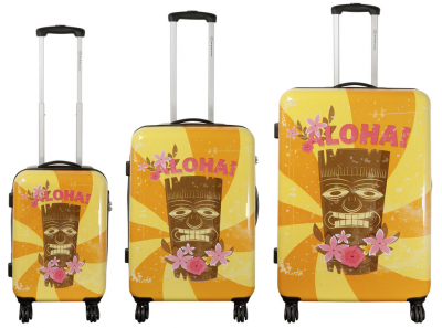 Kofferset 3 tlg. Trolleyset Reisekoffer Hartschale Hawaii