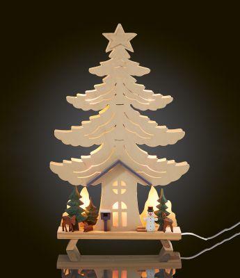 Hellum LED-Holz-Stimmungsleuchter Haus im Wald