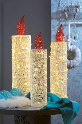 Hellum LED-Rattan 3er Kerzen-Set 88 BS warmweiß