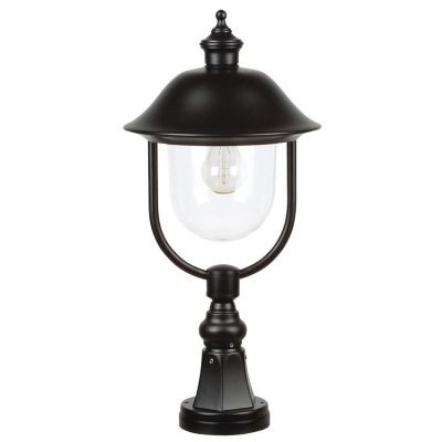 Landa Laterne Außensockelleuchte, 1 x E27/100W Leuchte schwarz