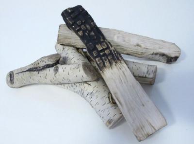 KAMINHOLZ SET 5 tlg., Keramik für Tischkamin Kamin Feuerstelle