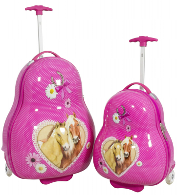 Kinder-Kofferset 2 tlg. Trolleyset Reisekoffer Hartschale PFERDE