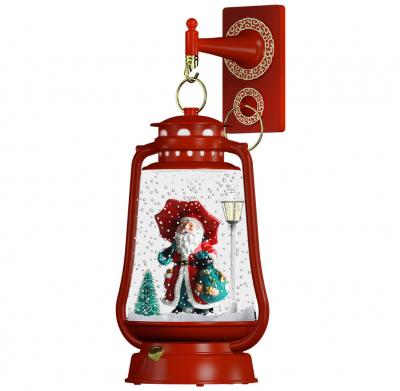 Christmas Paradise Schneiende LED Laterne 35 cm Motiv Santa rot INNEN