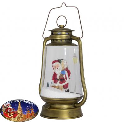 Schneiende LED Laterne 35 cm Motiv Santa gold, für INNEN