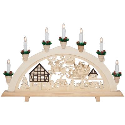 Weihnachtsleuchter, Schwibbogen Fachwerkhäuser und Weihnachtsmann mit Schlitten