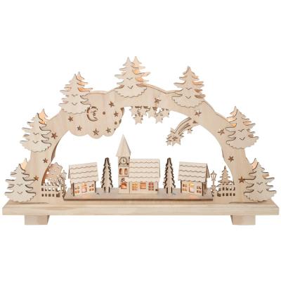 Fensterleuchter,  Weihnachtsleuchter Schwibbogen 7 Minilichter, Winterdorf Holz