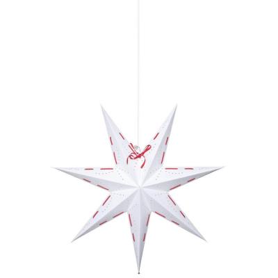 Best Season Weihnachtsstern VIRA Papier/Metall weiß mit rotem Textilband und Schleife