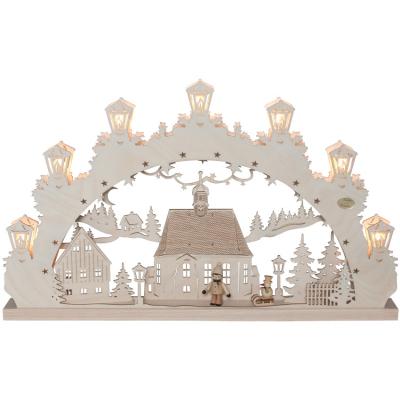 Original Erzgebirge Weihnachtsleuchter, Schwibbogen Winterstadt, Kind mit Schlitten